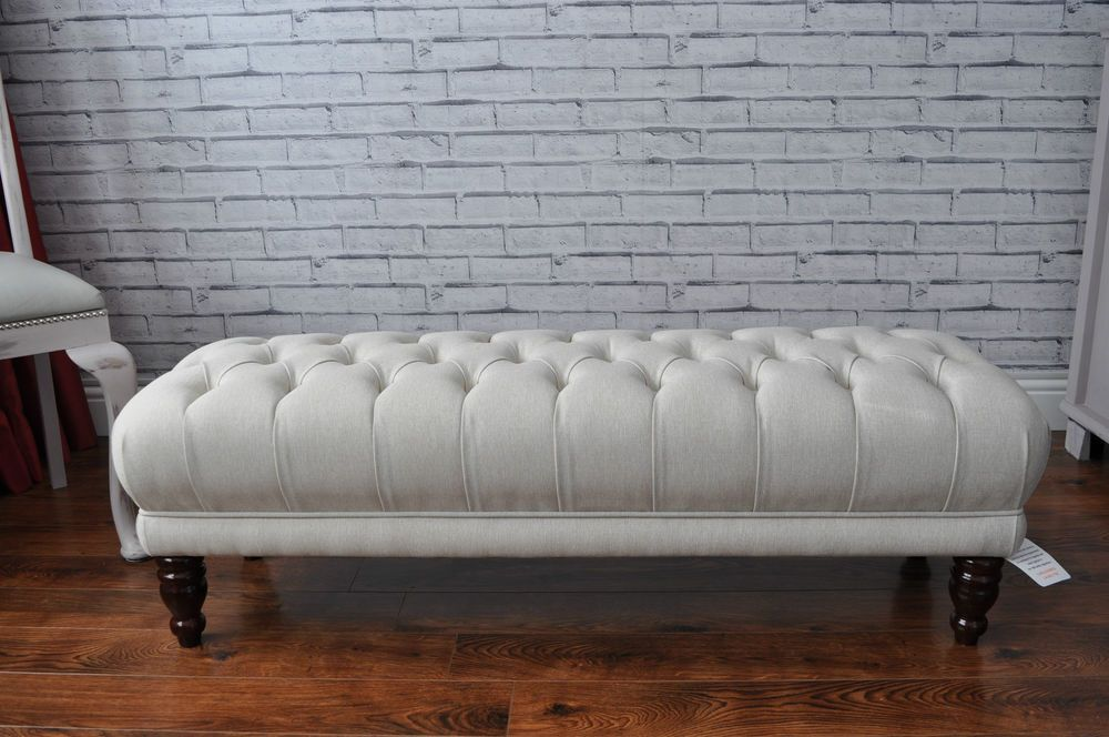 Details About New Deep Buttoned Bed End Footstool Table Window