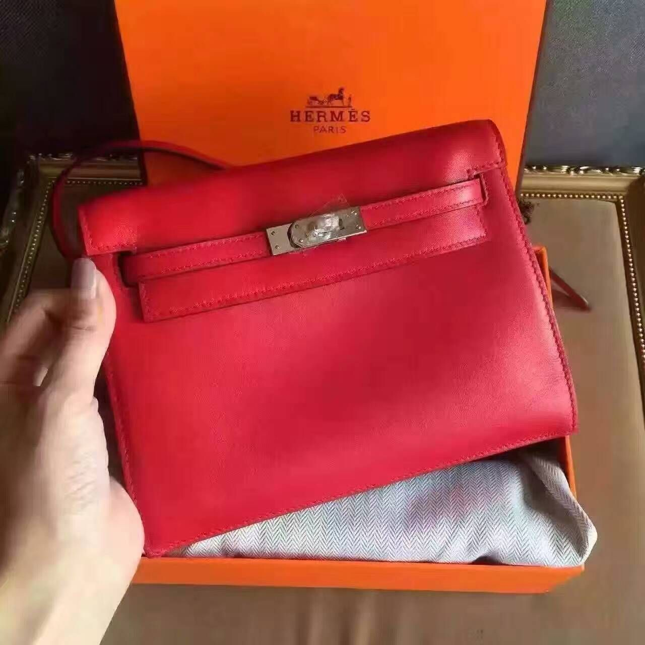 f1fba36f635e Limited edition! Hermes kelly danse bag red