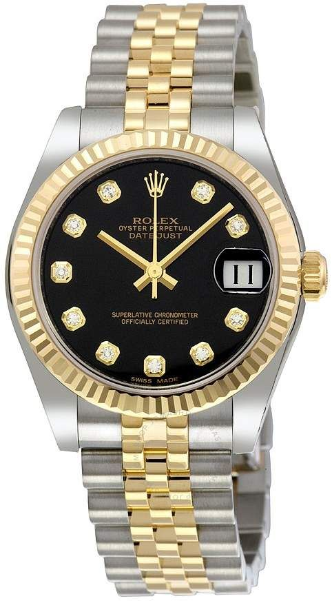 Rolex Datejust Lady 31 Black Dial Stainless Steel and 18K Yellow Gold Jubilee Bracelet Automatic Watch 178273BKDJ #rolexwatches