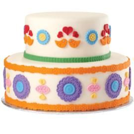 Folk Art Fondant Cake-I think this would be pretty too against black or chocolate fondant or ivory for a vintage look