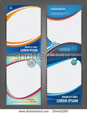 Magazine, flayer, brochure and cover layout design print template, set of 4 vector Illustrations