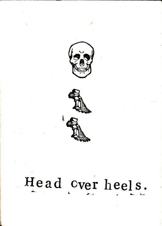 Head Over Heels Card | Funny Skull Skeleton Anatomy Weird Science ...