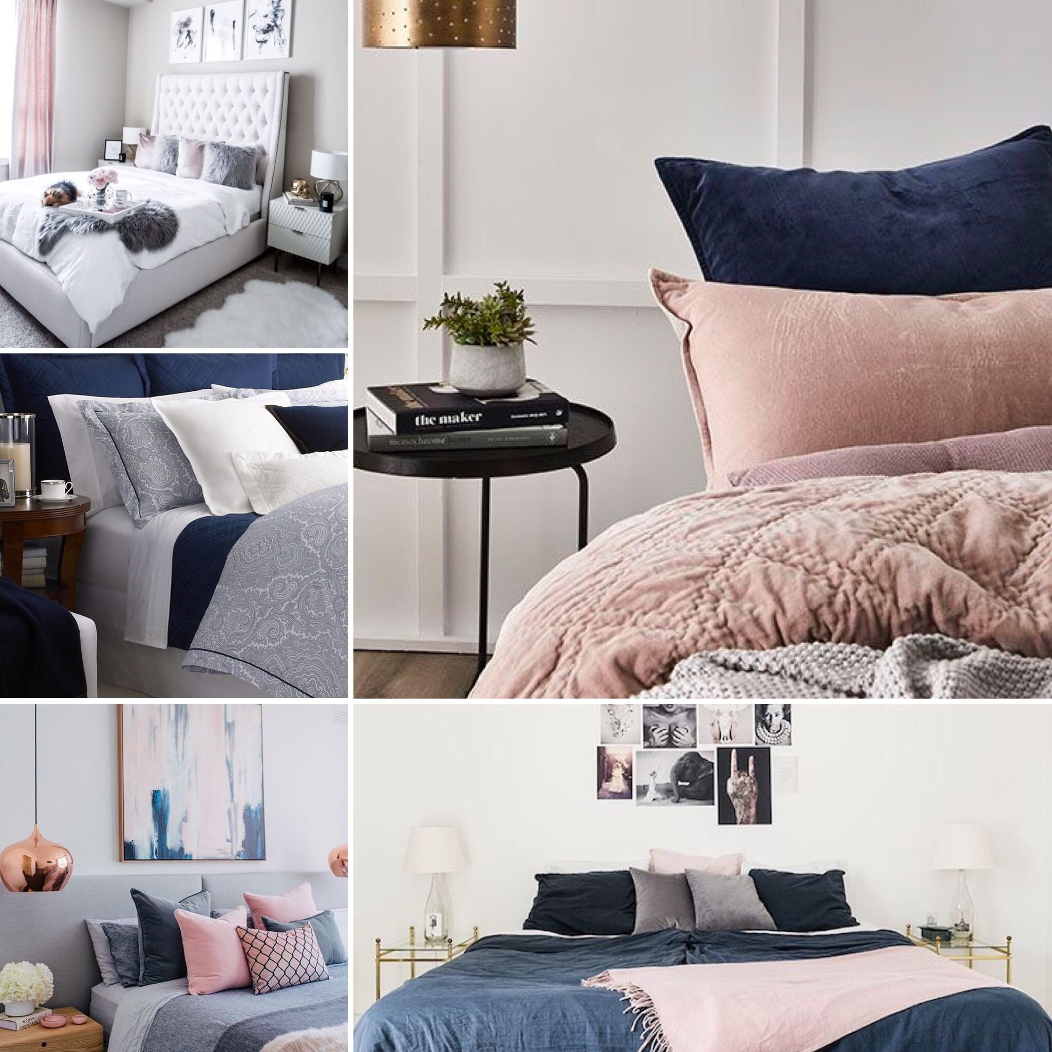 navy and blush pink bedding  bedroom inspirations