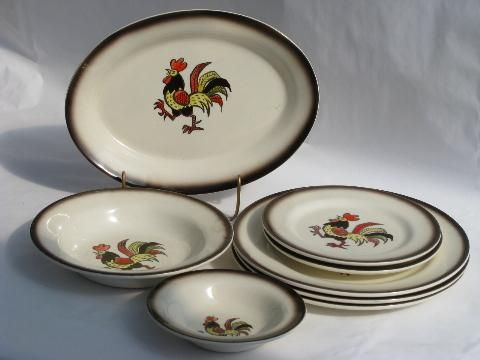 Red Rooster Vintage Metlox Poppy Trail Pottery Dishes Lot Red Rooster Pottery Dishes