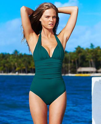 0884bc9961ce0 DKNY Swimsuit, Halter Ruched Maillot One-Piece - Swimwear - Women - Macys