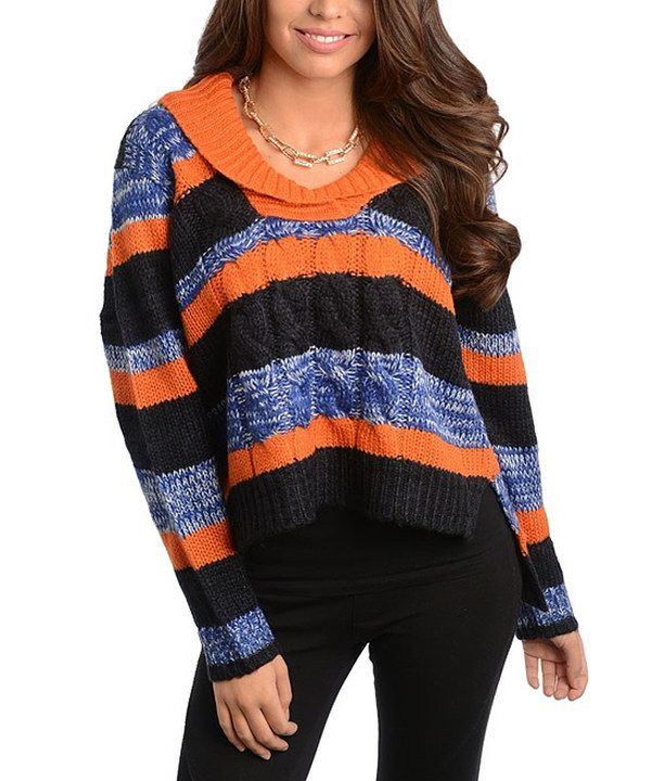 This Navy & Orange Stripe Hi-Low Sweater by Buy in America is perfect! #zulilyfinds