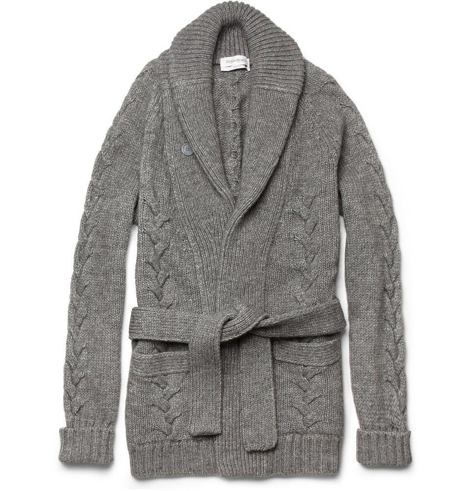 Yves Saint Laurent Long Chunky-Knit Wool-Blend Cardigan | Clothing ...