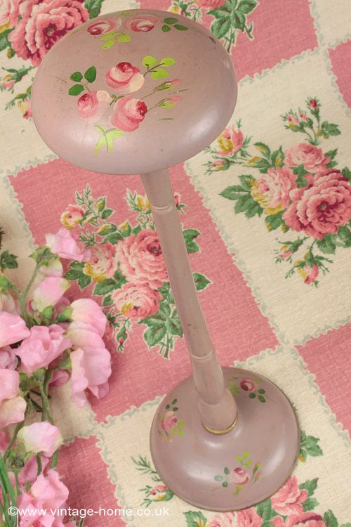 Vintage French Painted Roses Hat Stand