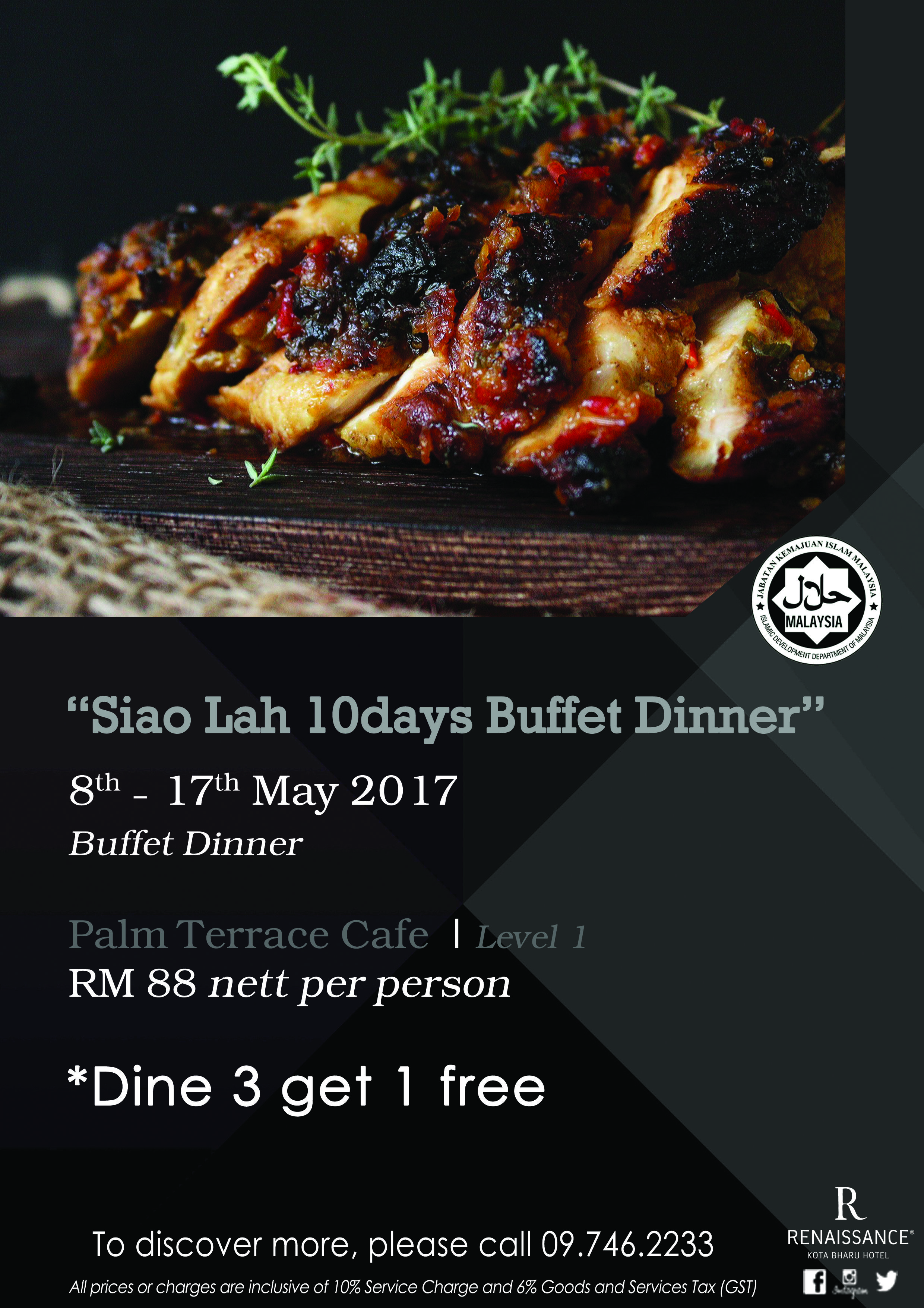 siao lah 10days buffet dinner on 8th until 17th may 2017 @ palm
