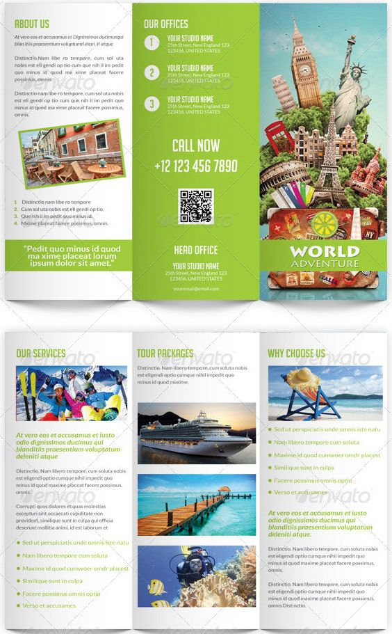 Travel and tourism trifold brochure template pinterest for Sample brochure design tourism