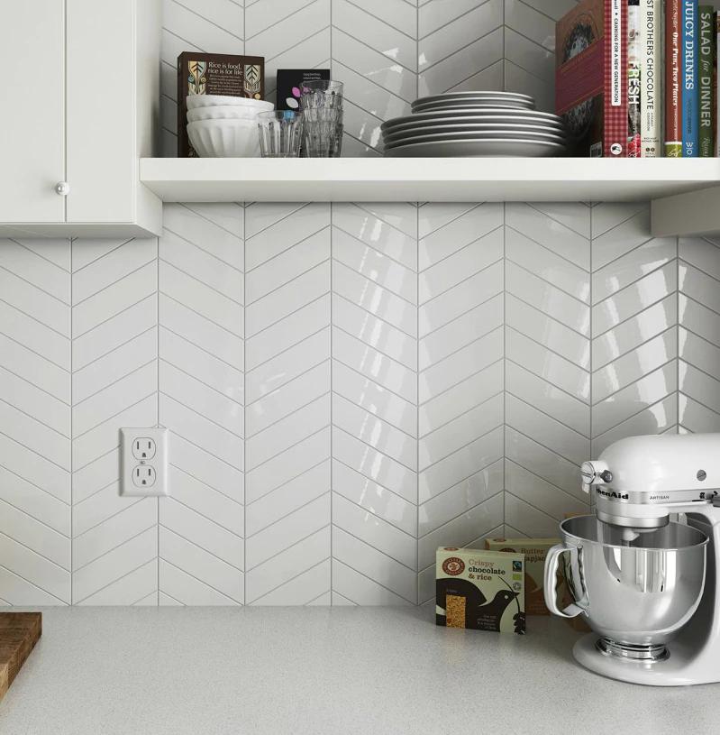 Chevron Ceramic White 2 X 9 Ceramic Wall Tile 3 29 Per Square Foot Gloss Finish Kitchen Splashback Tiles Splashback Tiles Kitchen Splashback