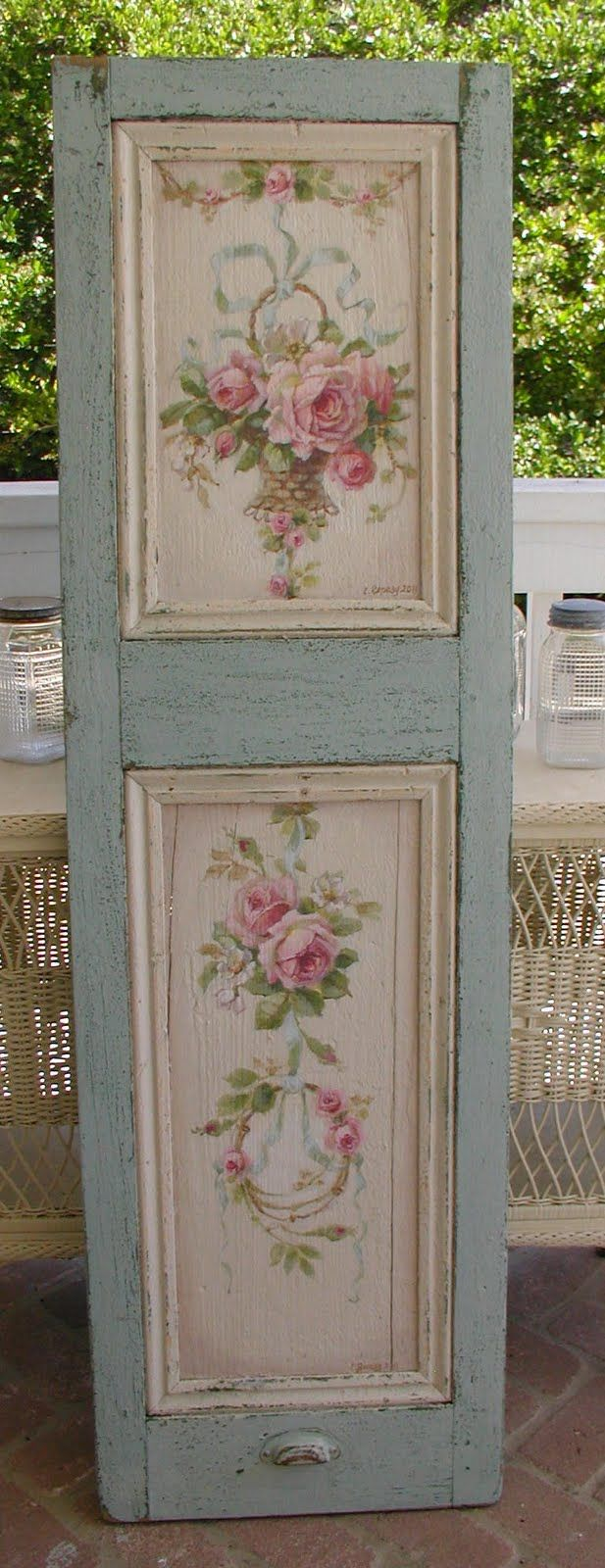 A beautiful rose-painted shutter by Christie Repasy. Chateau De ...