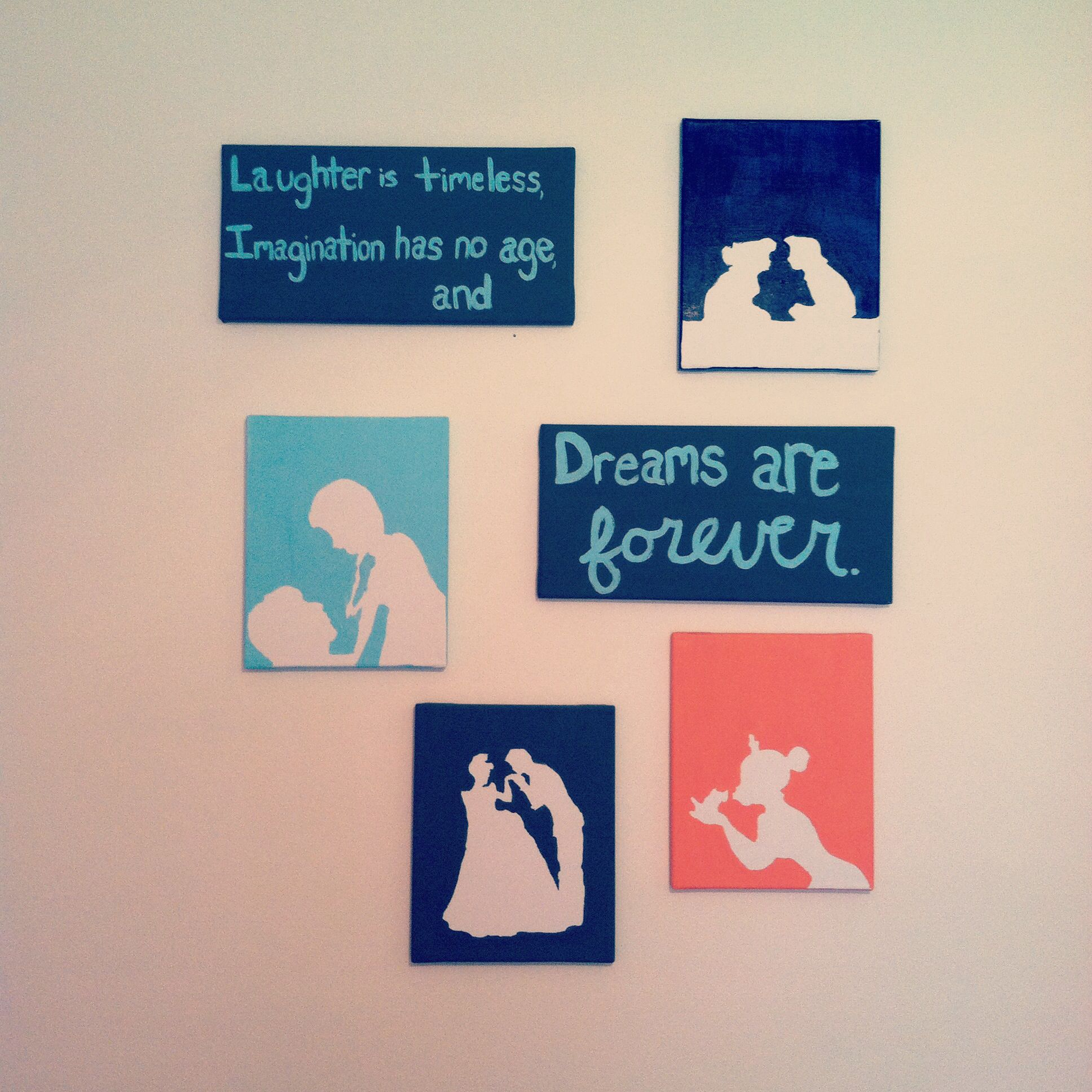 Easy Disney Princess Canvas Paintings Cut Out Silhouettes Of Characters Placed Them On A Board And Painted Over