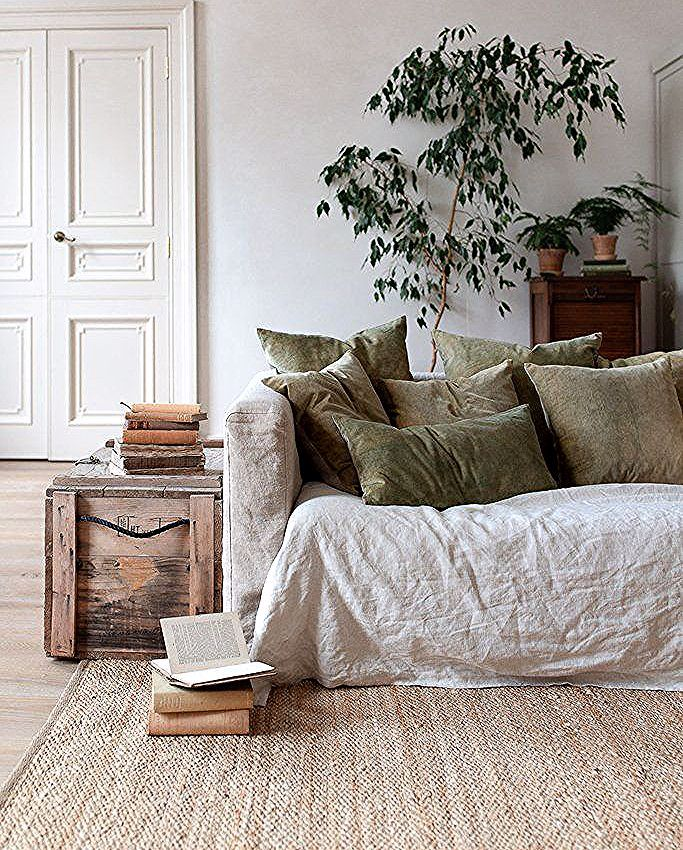 INGREDIENTS LDN natural home decor fro slow living, THE SLOW APPROACH TO CRAFTING A HOME, natural home decor, neutral home decor colours, neutral interior palette, home decorating with natural materials, linen sofa cover, muted green velvet cushion covers olive green velvet cushion covers