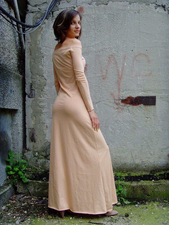 d52a5c7863a6 10% discount CUSTOM MADe Eco Friendly Sexy Feminine Handmade Maxi Long Tight  Dress Off Shoulder In Tan Brown Beige.  69.00