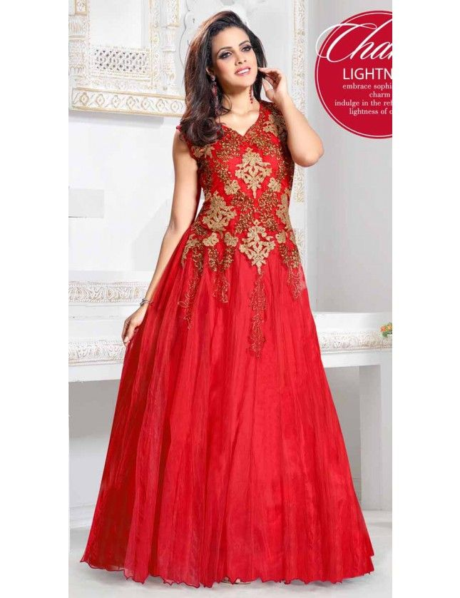 Rich Red Color Zardosi Work Wedding Gown   Dresses   Pinterest   Red ...