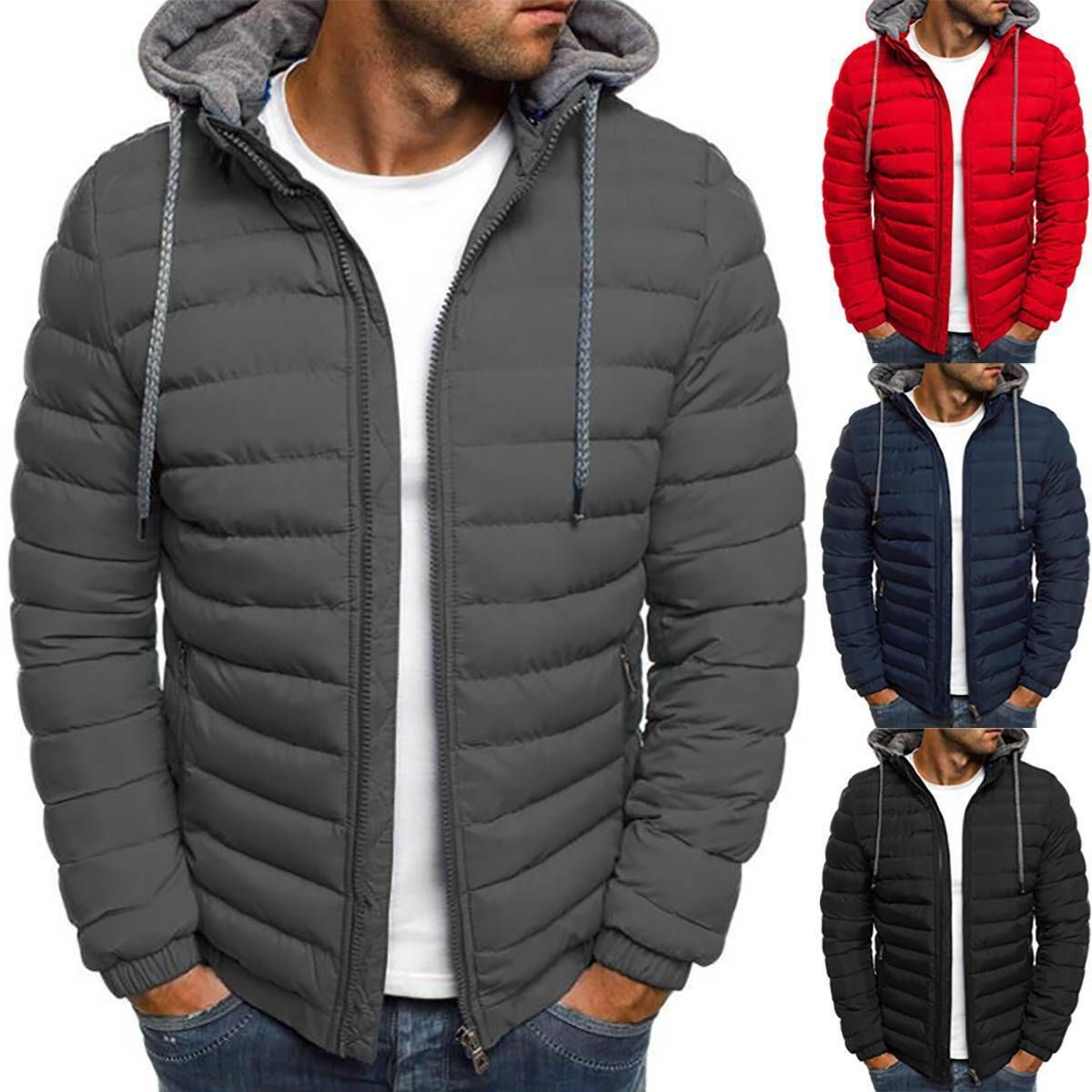 Mens Padded Puffer Parka Bubble Hooded Quilted Warm Winter Jacket Coat Outwear