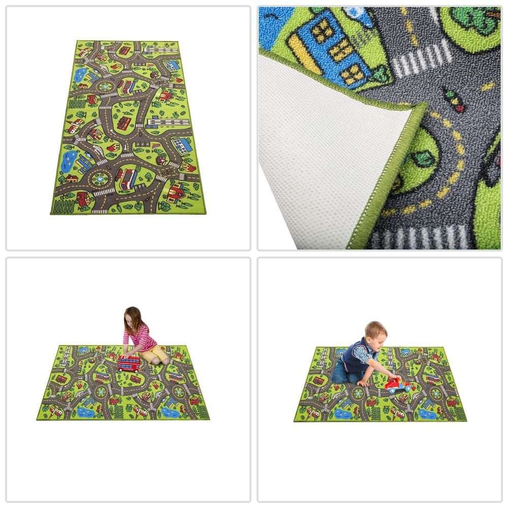 Race Car Play Rug Kids Floor Carpet W Roads Play Area Mat 79 X 40 Boys Town Kids Rugs Boys Kids Flooring Playmat