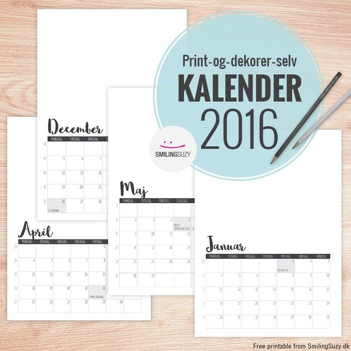 kalender 2016 dansk