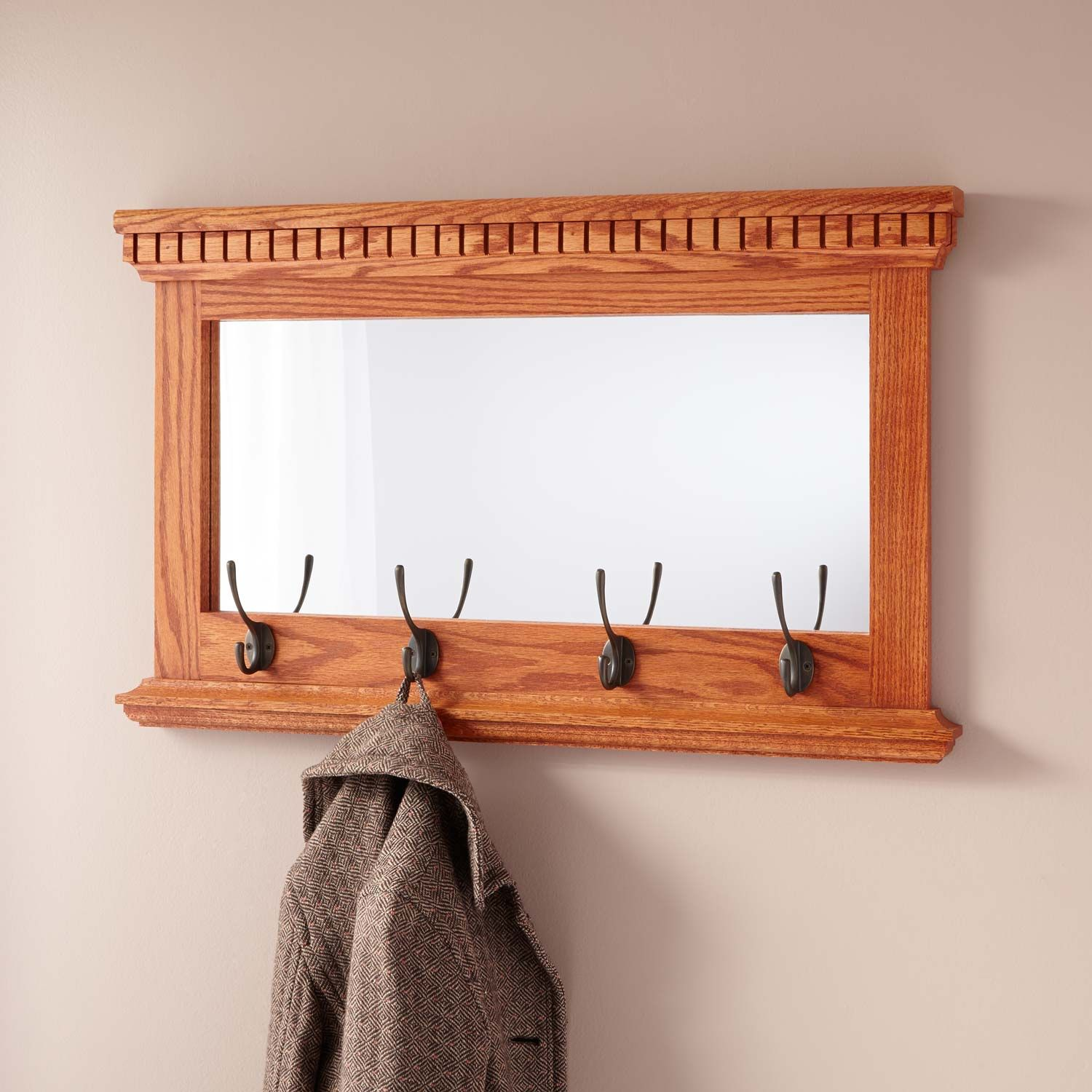 Mirrored Solid Oak Coat Rack With Classic Double Hooks