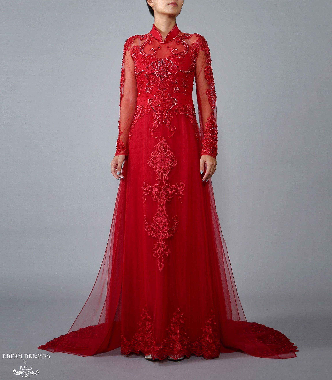 Red Ao Dai | Vietnamese Lace Bridal Dress (#TALIN) | Ao dai, Bridal ...