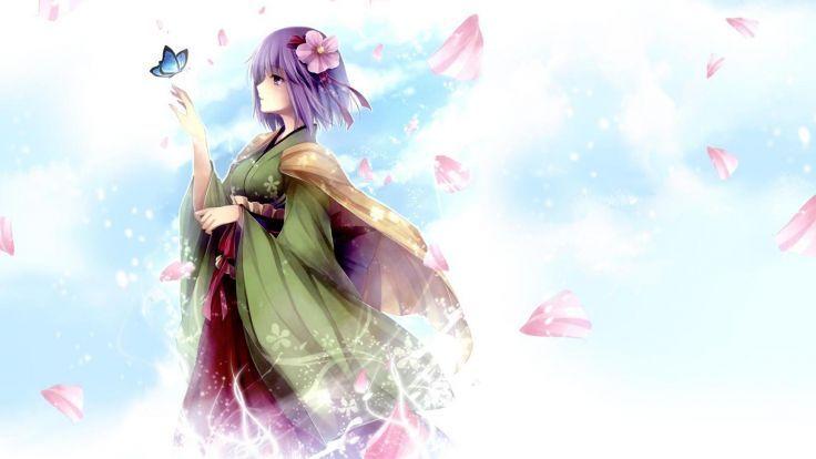 Touhou Purple Hair Kimono Petals Butterfly Anime Wallpaper