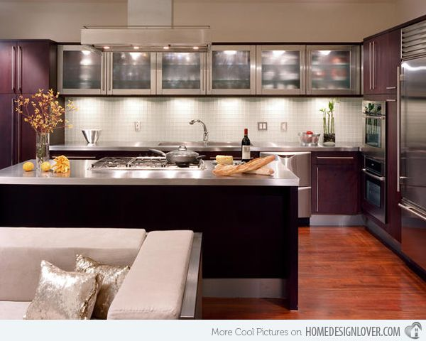 16 Metal Kitchen Cabinet Ideas Home Design Lover Kitchen Design Small Small Modern Kitchens Glass Kitchen Cabinets