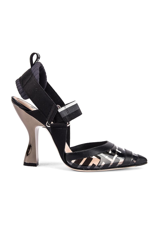 Fendi Logo Slingback Heels in Black
