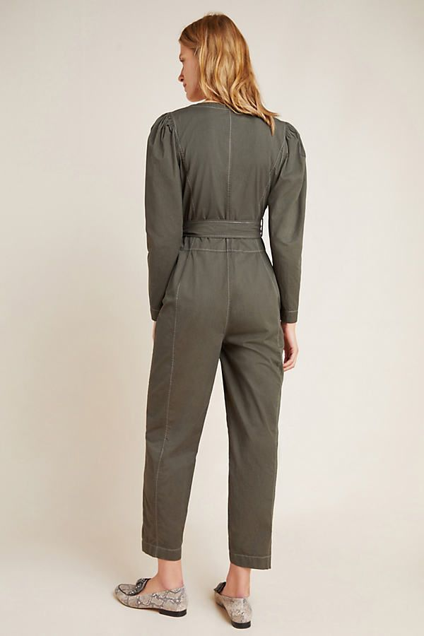 Rebecca Taylor Twill Jumpsuit by in Grey Size: Xs, Women's Jumpsuits at Anthropologie 1