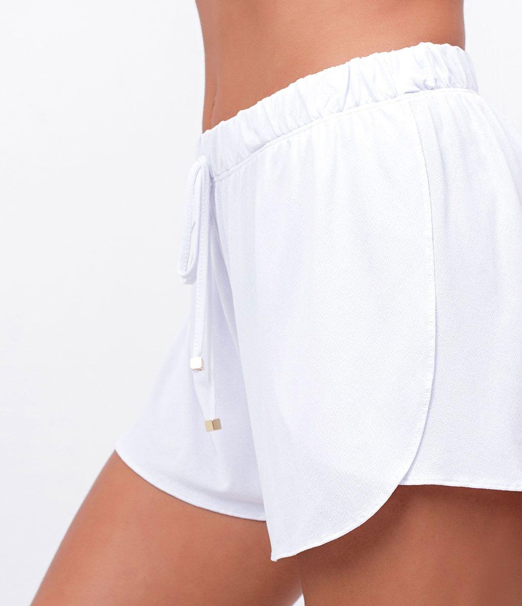 6702ad805f17 Short feminino Saída de praia Amarração na cintura Liso Marca: Bossa Nossa  Tecido: poliamida