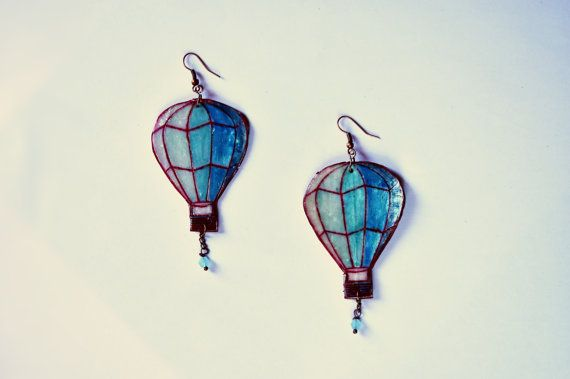 Balloon earring gift travel jewelry Teal gift for her Earring Adventure Explore dangle jewelry...