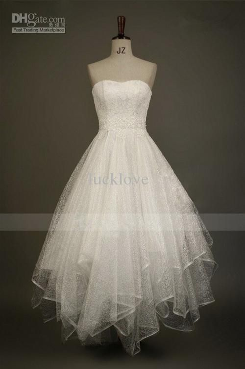 Lovely 2013 Scoop Summer Beach Wedding Dress Short Ruffles Lace Trimmed Pearls Adorned Gowns Homecoming/Party Dresses(Get One Flower Free) #bridalshops