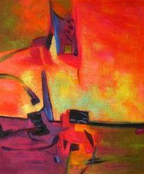 peinture abstraite orange mauve.