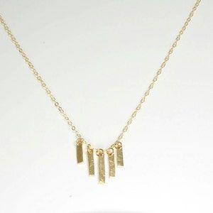 Hammered gold fringe necklace gold stick necklace   Etsy