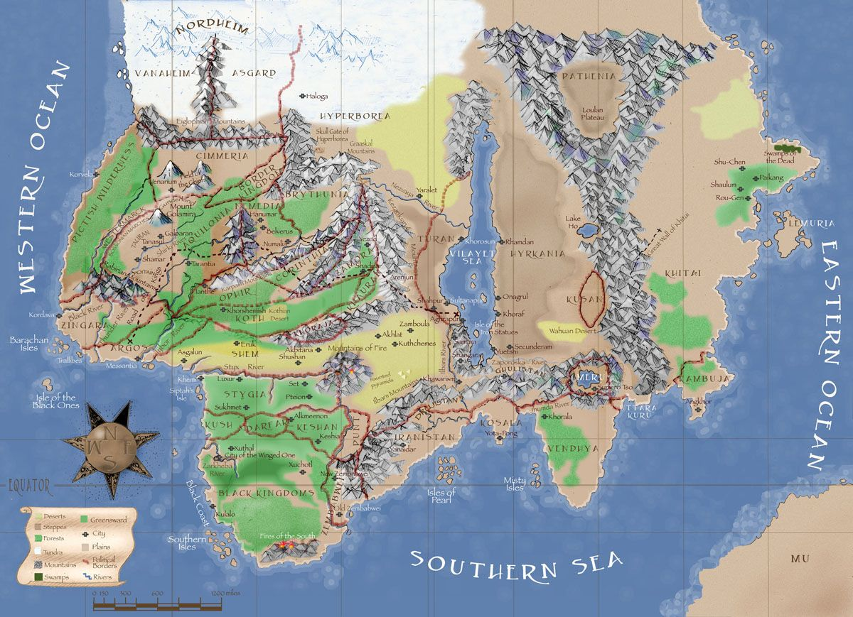 Whole Wide World Hyborian Era 10000bc By Vonmeer On: Fantasy Map, Conan, Map
