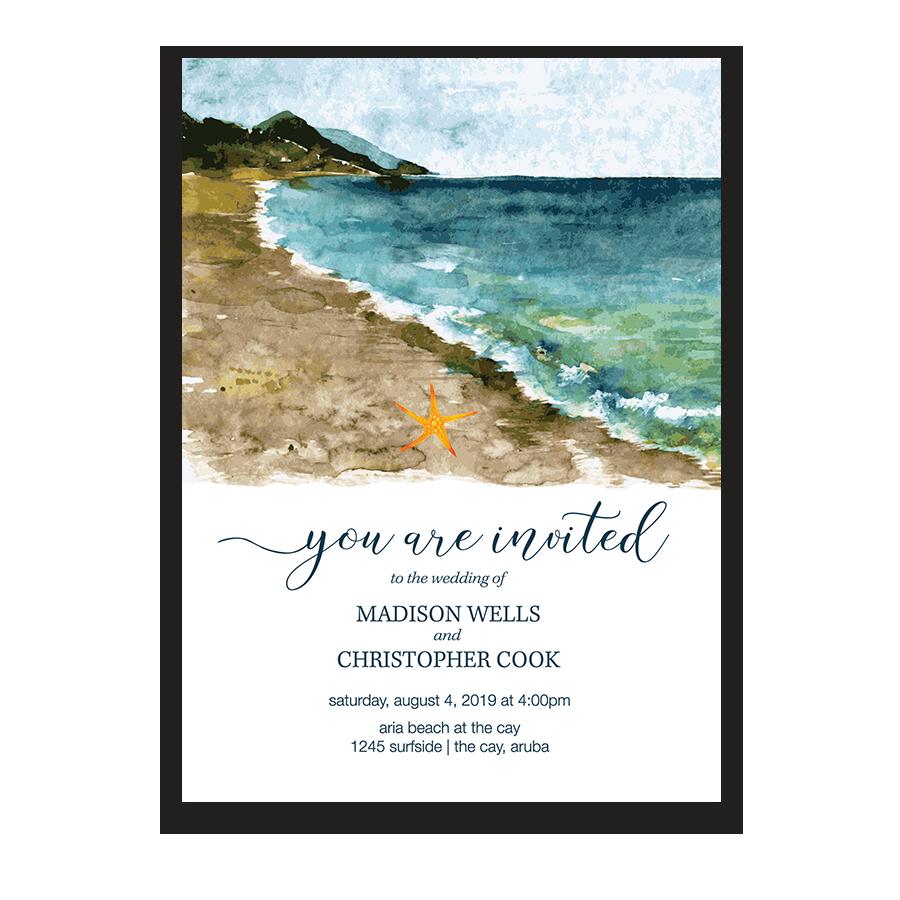 Beach Wedding Invitation Sea Inspired Watercolors | Nautical Wedding ...