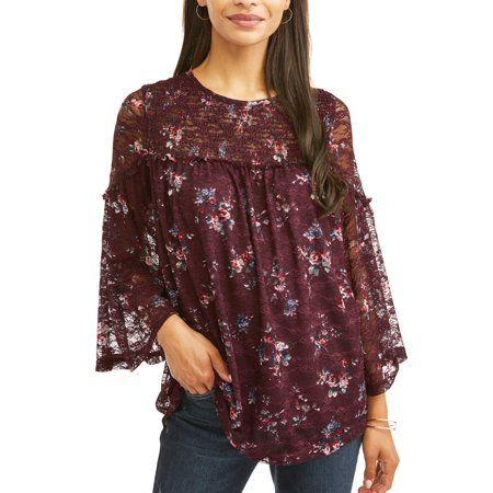 7985593d9 Women s Printed Lace Peasant Top - Walmart.com