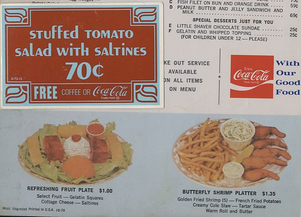 Woolworth Lunch Counter Menu, 1970  My Grandma would take me