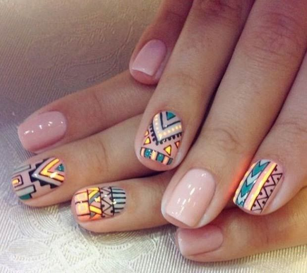 19 tribal inspired nail art designs nude feather nail art and 19 tribal inspired nail art designs prinsesfo Choice Image