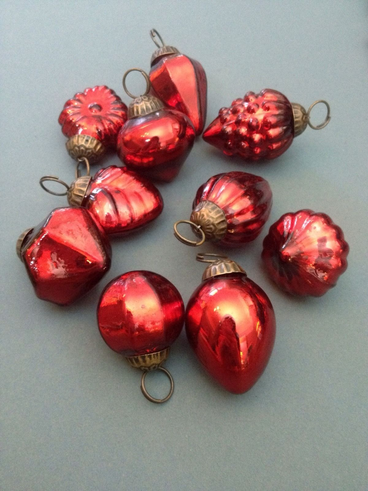 10 mini red glass baubles vintage metallic kugel style christmas decorations ebay - Ebay Christmas Decorations
