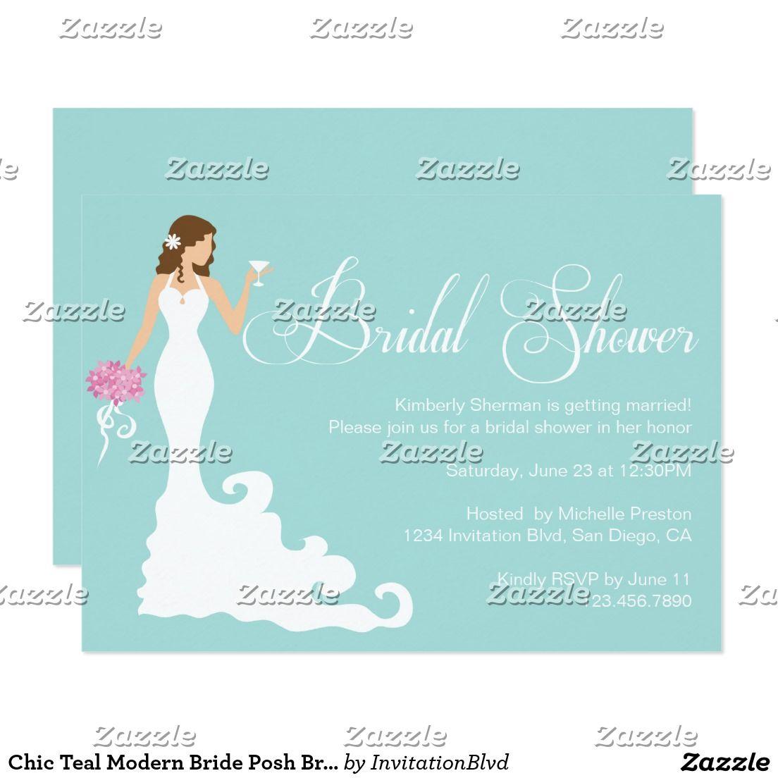 Chic Teal Modern Bride Posh Bridal Shower Invite Tea Party