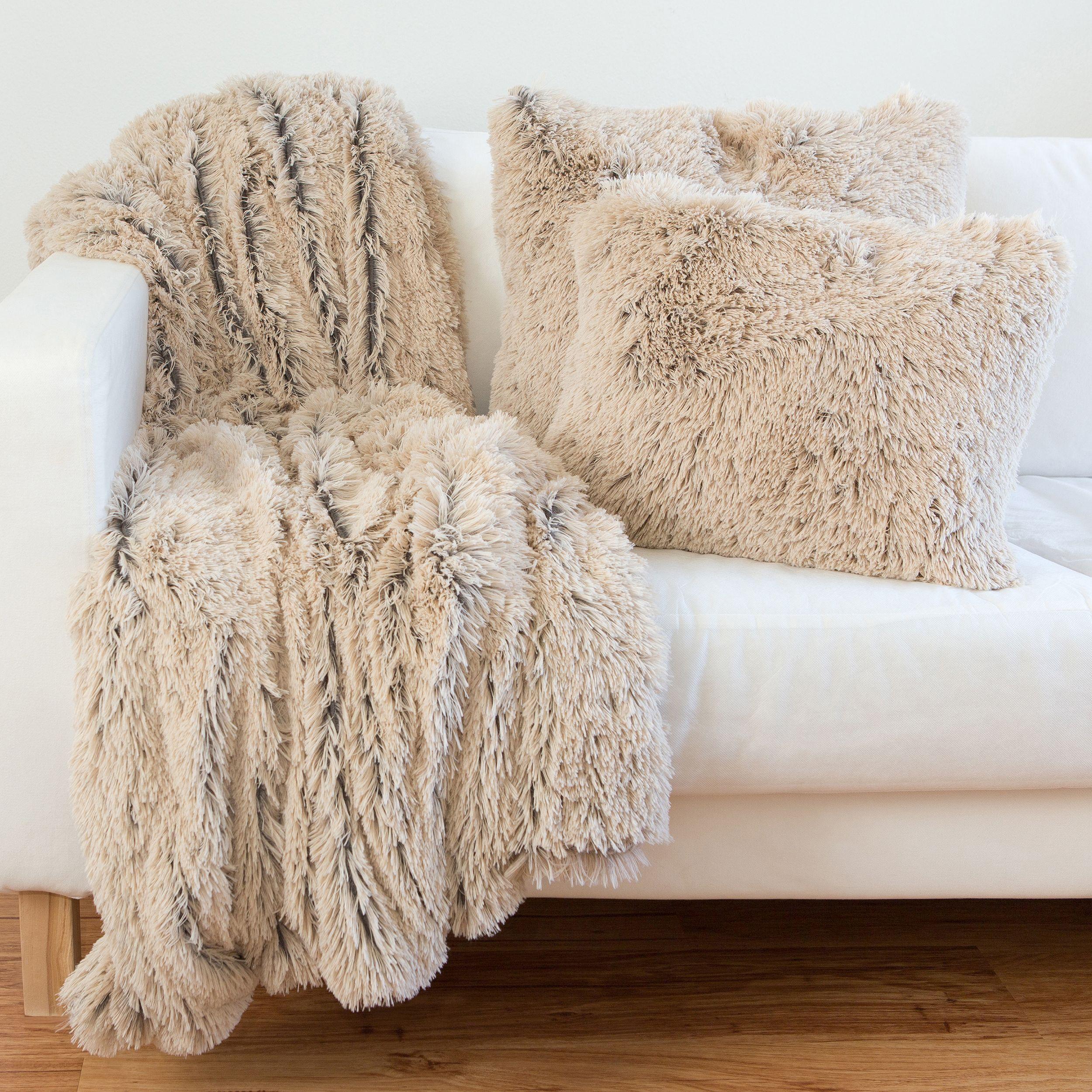 Maison Rouge Hugo Shag Faux Fur Pillows, Throw and Set | Designer ... for Sheep Fur Blanket  585ifm