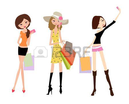 Tres chicas vestidas a la moda, con sus bolsas de compras Foto de