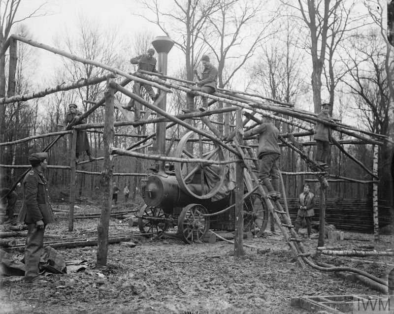 WWI, Nov 1916; British troops building a saw mill on the Amiens-Albert road. ©IWM
