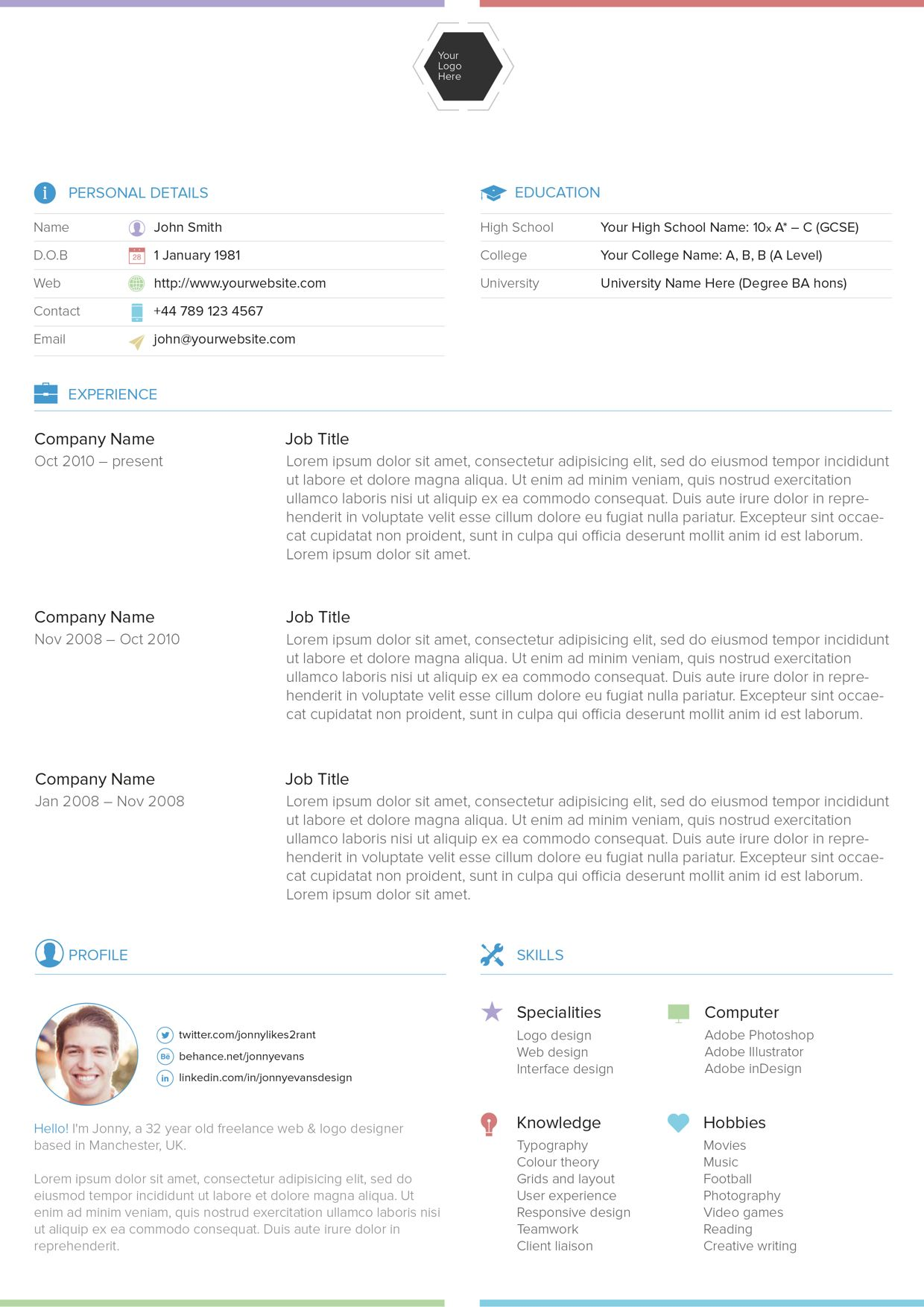 Resume template on Behance Best free resume templates