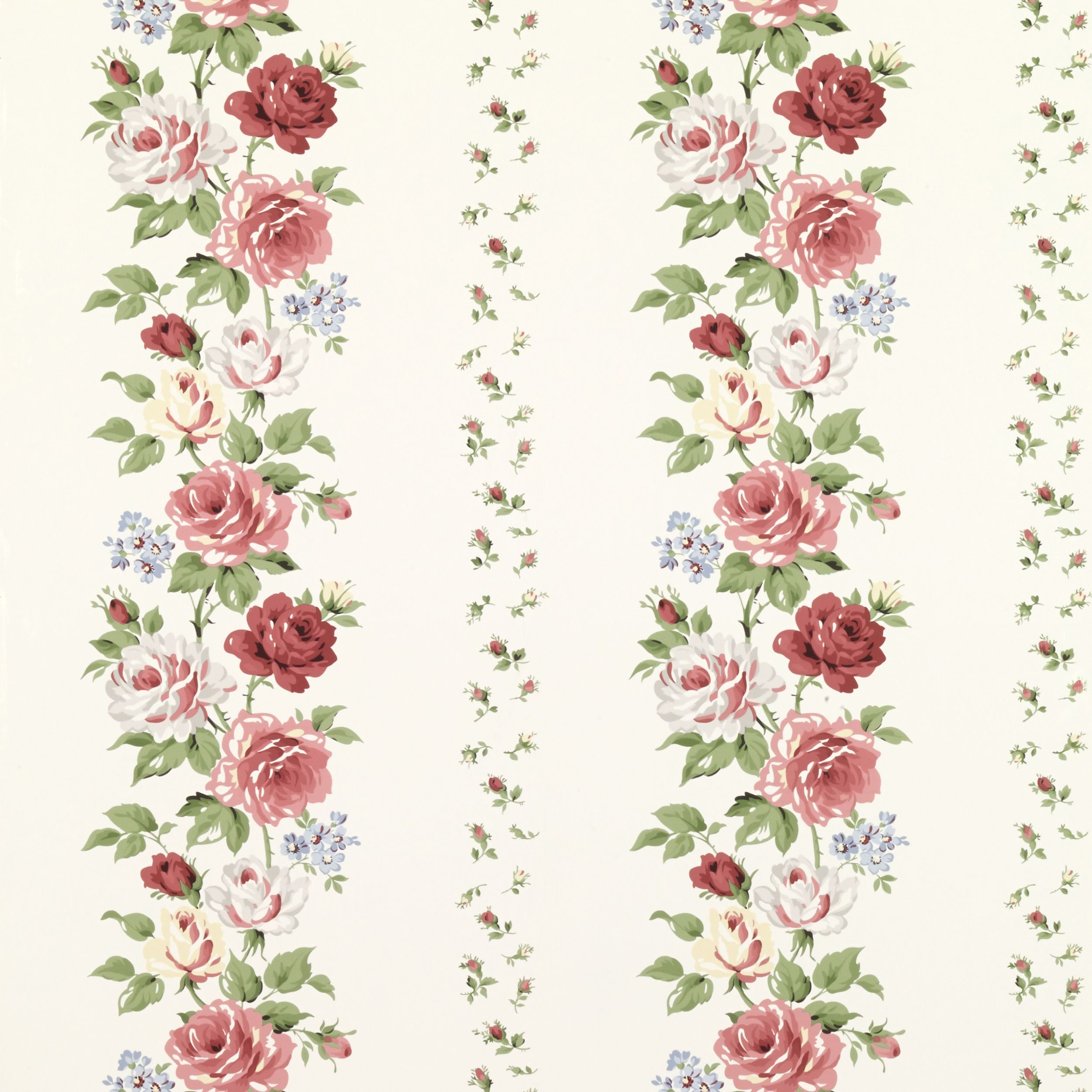 Clarissa Multi/Ivory Wallpaper Floral pattern wallpaper