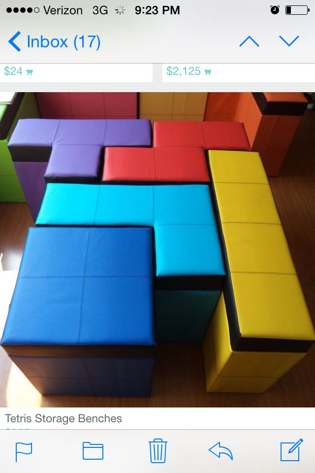 Tetris Seating Bench With Storage Game Room Gaming Decor