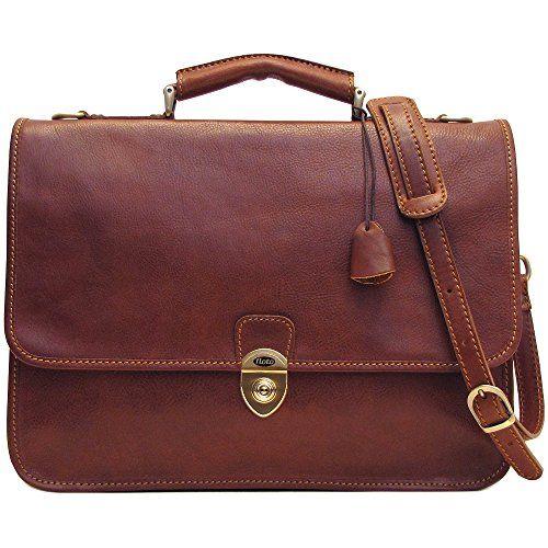 Floto Leather Briefcase Messenger Bag in Brown Italian Calfskin Floto