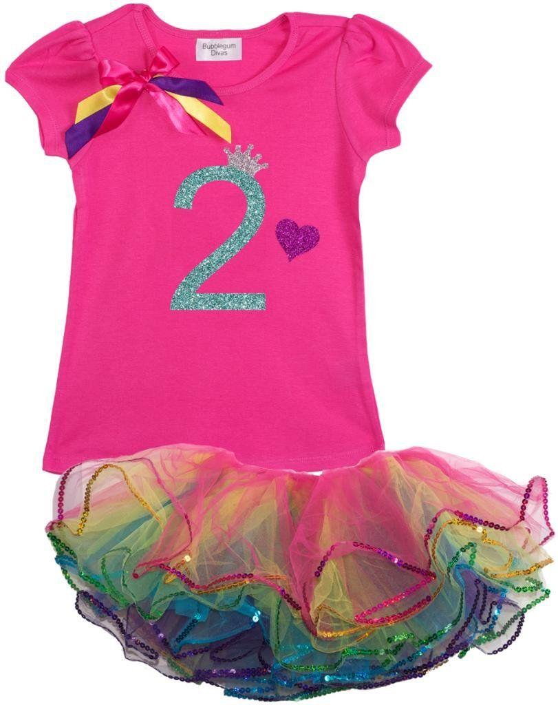 ace86dacb Bubblegum Divas Little Girls  2nd Birthday Rainbow Tutu Outfit 3T. 2 ...