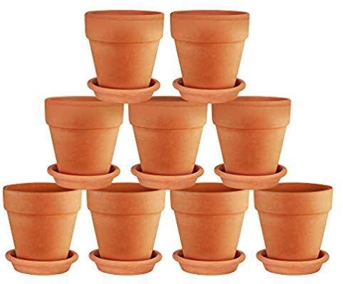 Amazon Com Terra Cotta Pots With Saucer 9 Pack Clay Flower Pots With Saucers Mini Flower Pot Plant Clay Flower Pots Succulent Display Terracotta Flower Pots